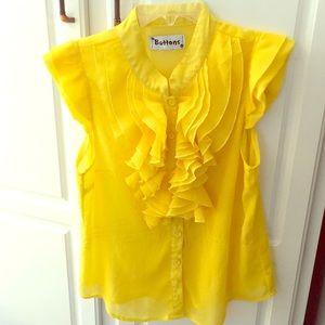 Yellow button down blouse